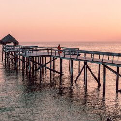 dugong beach lodge pier sunset