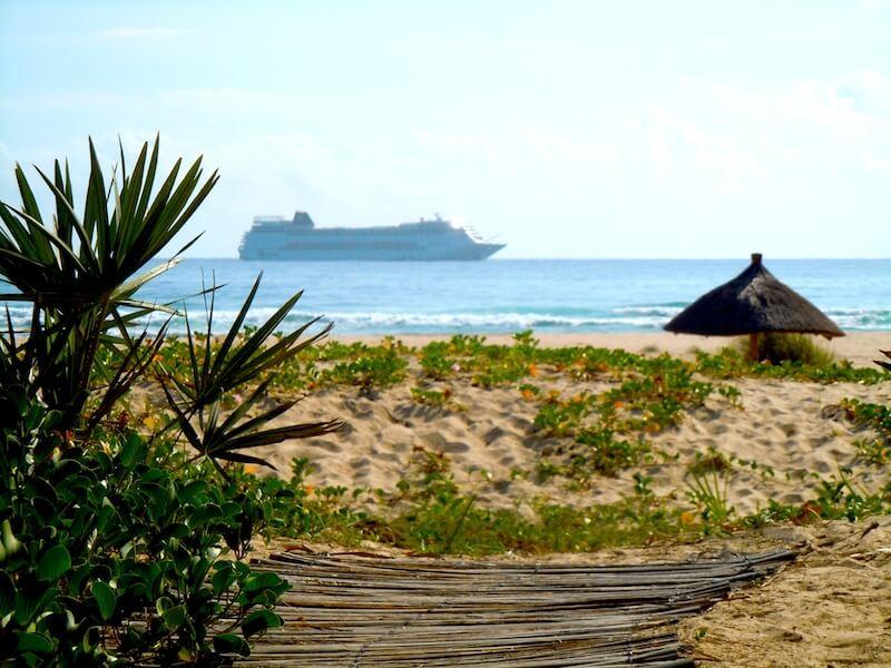 Barra Beach Club ship in distance