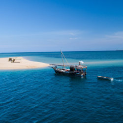 Mobile Island Hopping dhow by sandbank